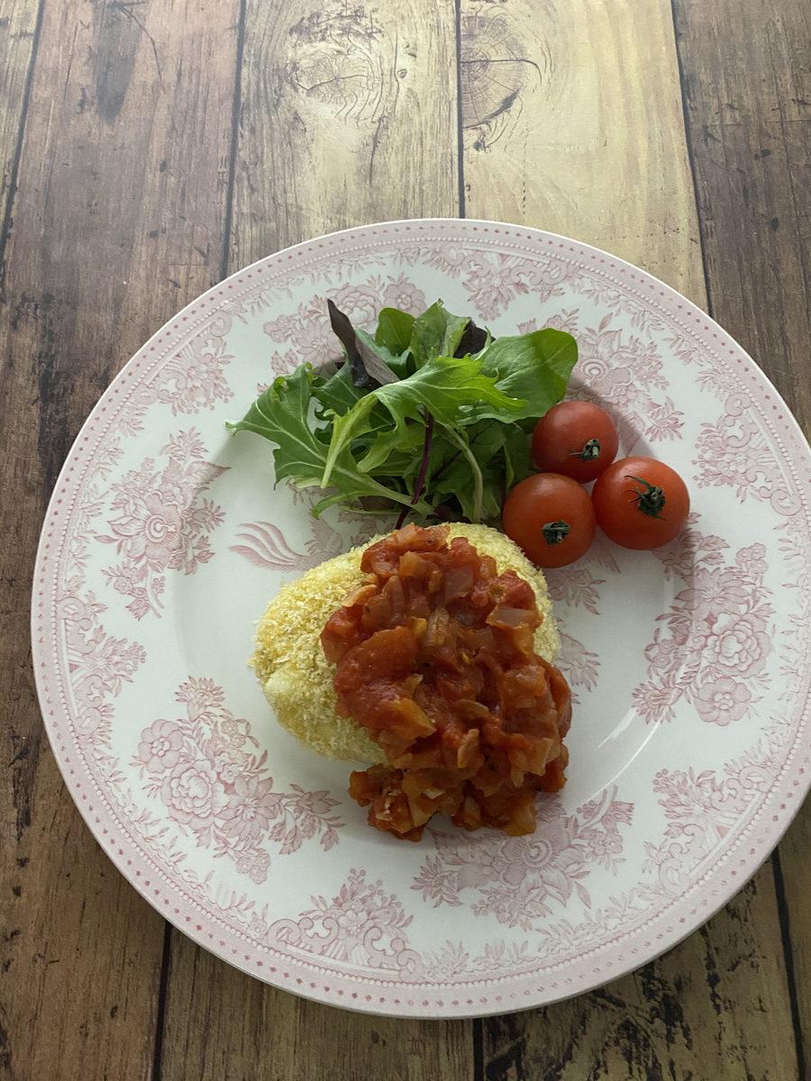 揚げないコロッケ&トマトソース