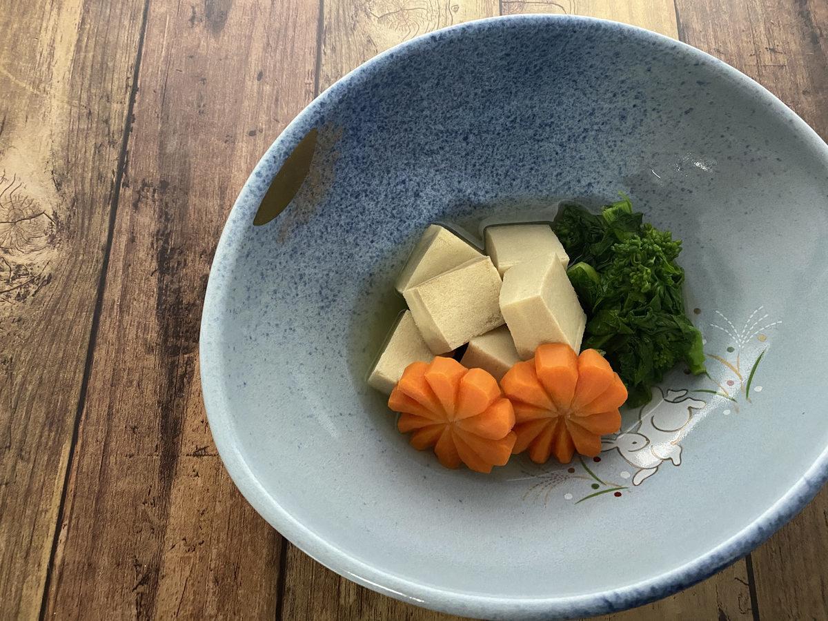 高野豆腐と菜の花のさっと煮