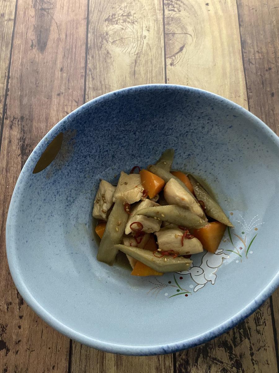 鶏むね肉とごぼうのピリ辛照り煮