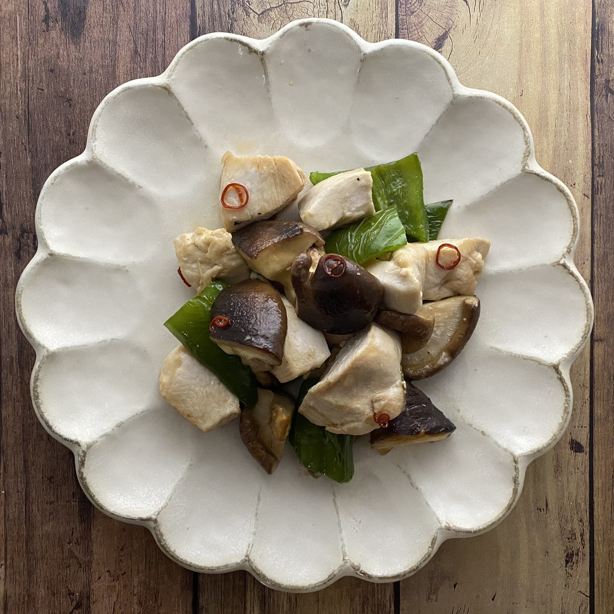 鶏むね肉と椎茸の甘辛炒め