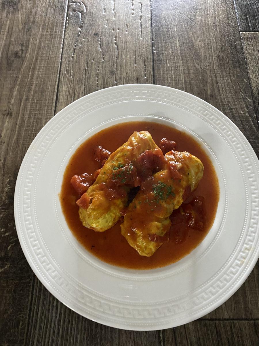 鶏むね肉deロールキャベツ
