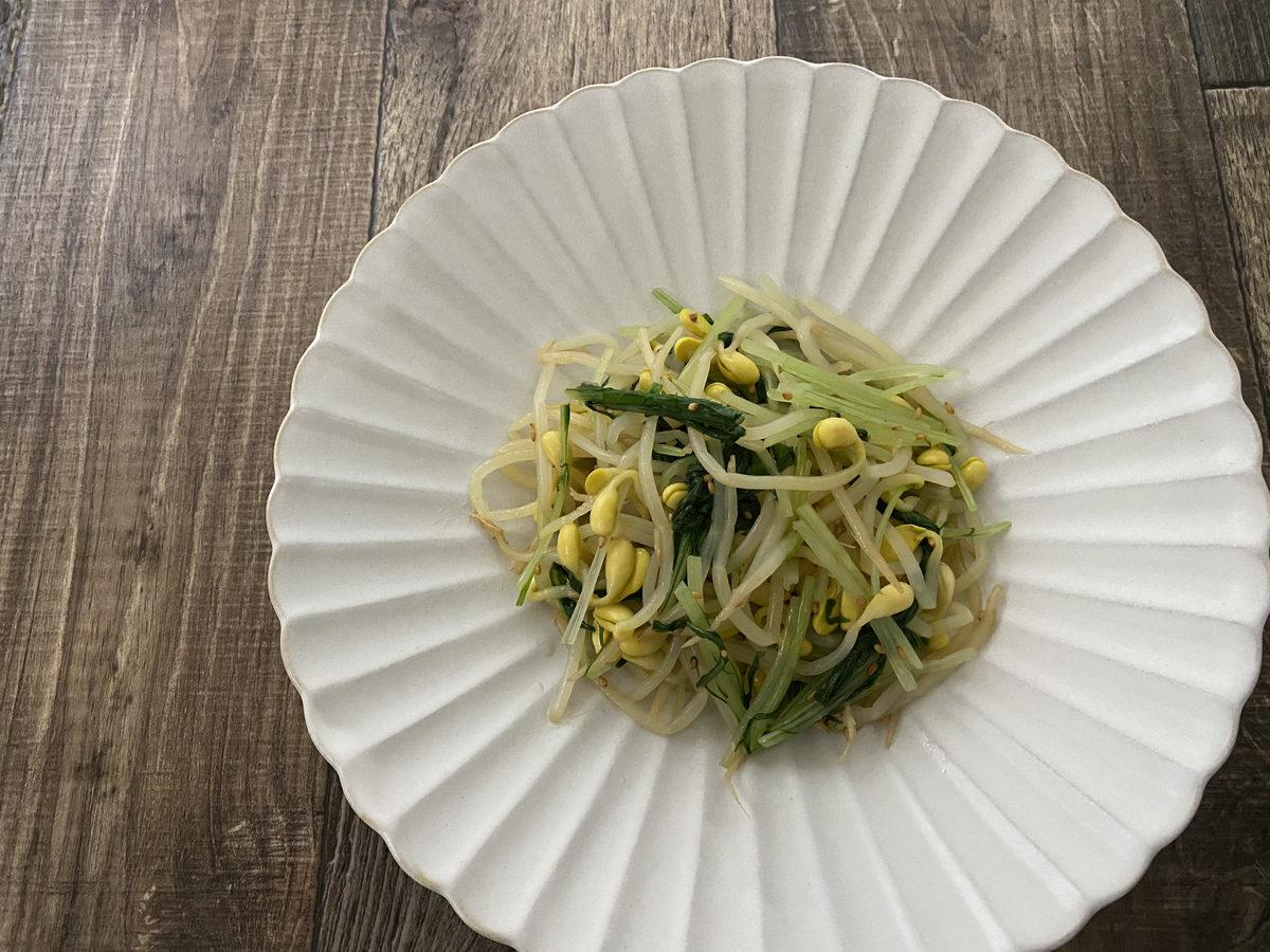 豆もやしと水菜のナムル