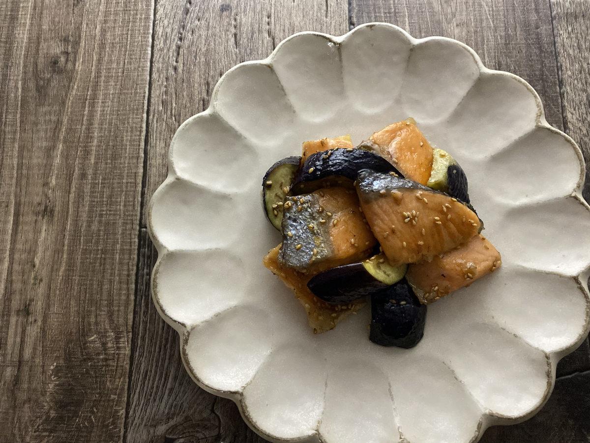 鮭とナスの胡麻照り焼き