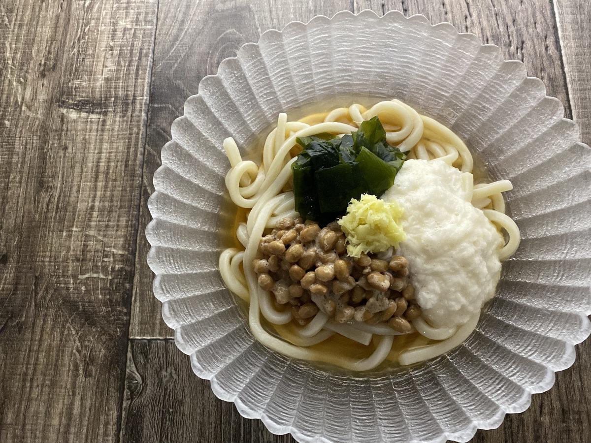 長芋と納豆の冷やしうどん