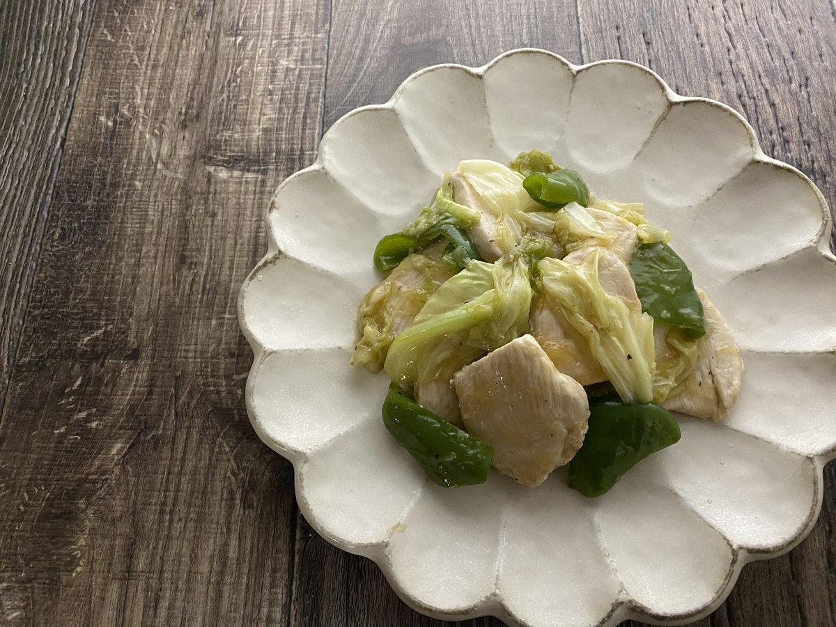 鶏むね肉とキャベツの生姜炒め