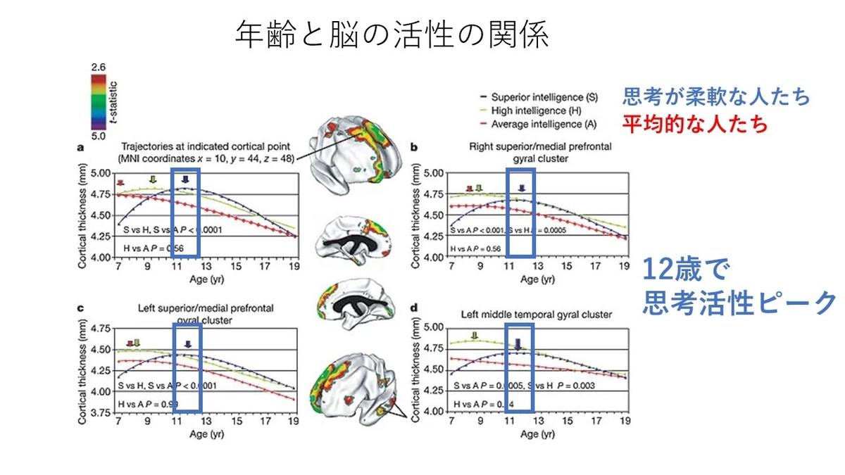 脳の活性と年齢の関係