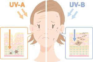 紫外線A波とB波が原因の肌トラブルとエイジングケア