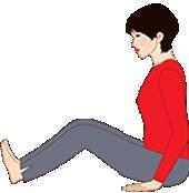腰に負担をかけないよう、膝はまげて背中を壁やいすの背などによりかかる