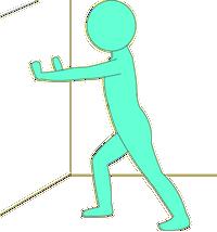 アキレス腱を伸ばす体操。壁を使って腕立て伏せの要領で行う