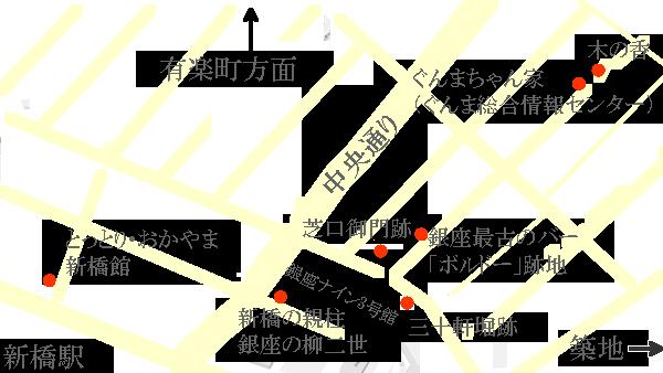 今回のルートと立ち寄り場所マップ