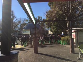 園内巡り。シャンシャンのパンダ舎入場の列。ただいま50分まち