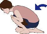 疲労がたまりがちなふくらはぎの内側に有るひらめ筋を、奥まで伸ばすストレッチです。