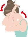 首まわりのストレッチ:腕の重さだけで頭を前に倒す