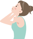 首まわりのストレッチ:親指であごを上に押し上げる