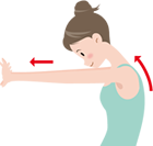背筋(息を吸うのに大切な筋肉)を伸ばし柔軟にします。