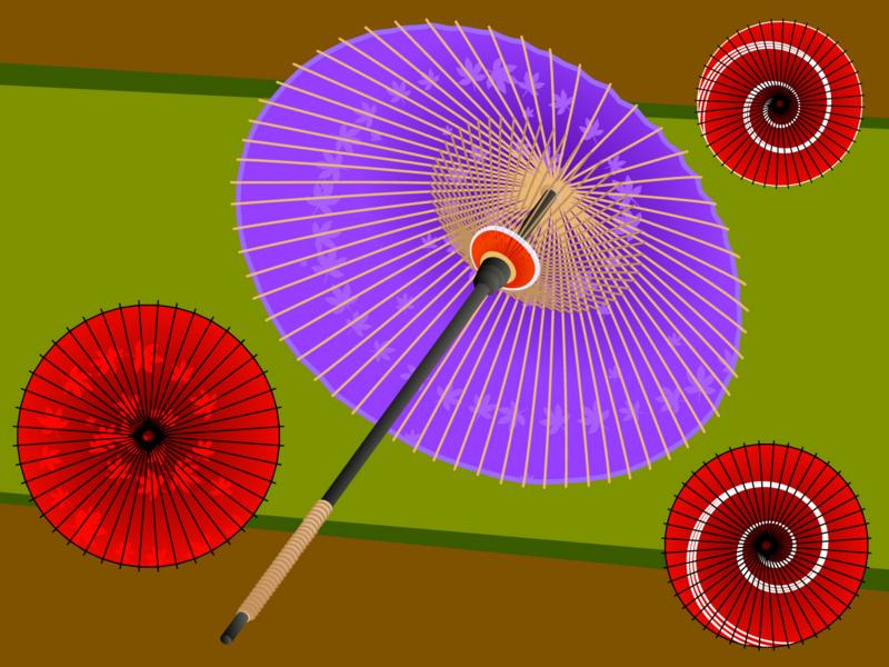 和傘 紅葉