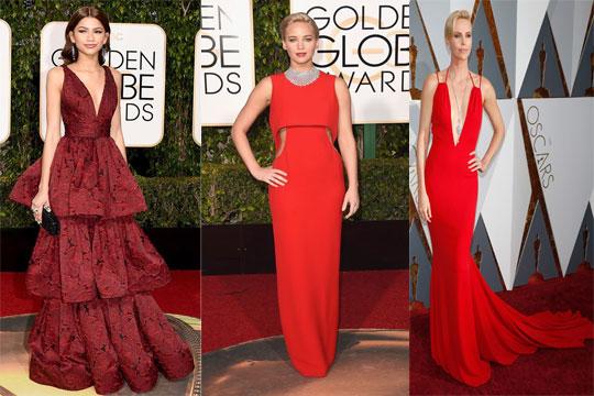 Robe de soirée rouge longue sur tapis rouge