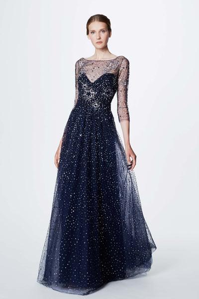 robe de soirée bleu longue à manche transparente pour noël