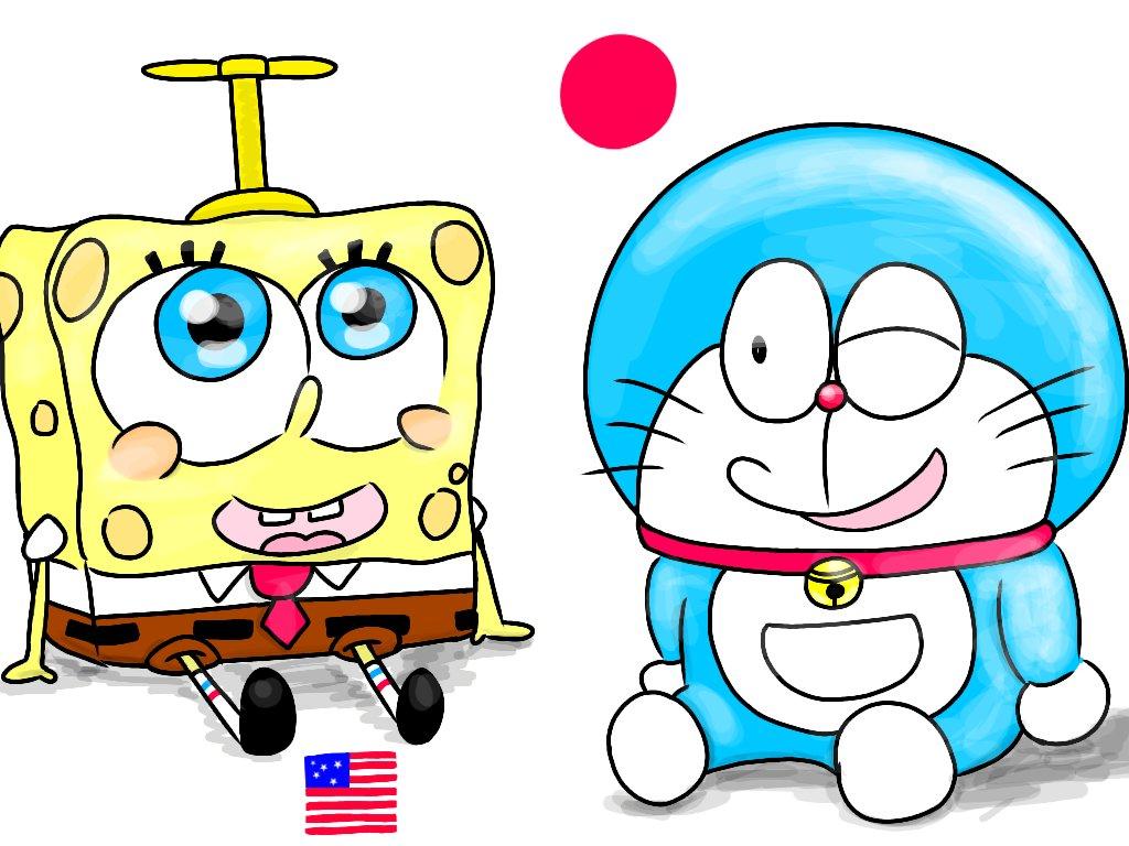 日米の国を代表するキャラ2人描いてみたイラストスポンジボブ