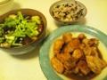 鶏肉バジリコ酢ソテーとなす煮浸し