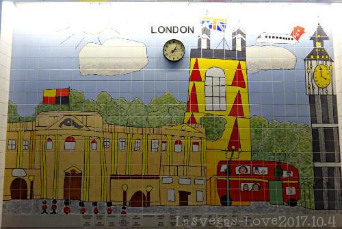 ロンドン 壁のタイル画