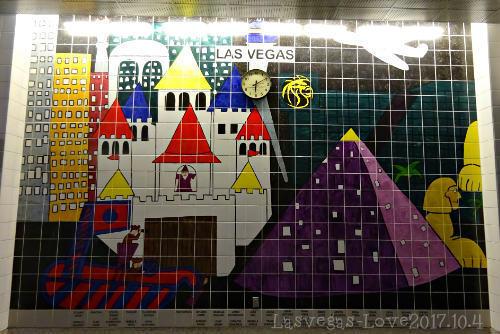 ラスベガス 壁のタイル画