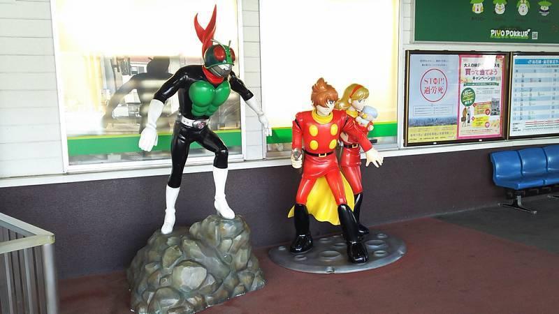 石巻駅にある仮面ライダーとサイボーグ009