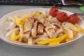 [twitter] トンテキ、パプリカ玉葱和え。トマト添え