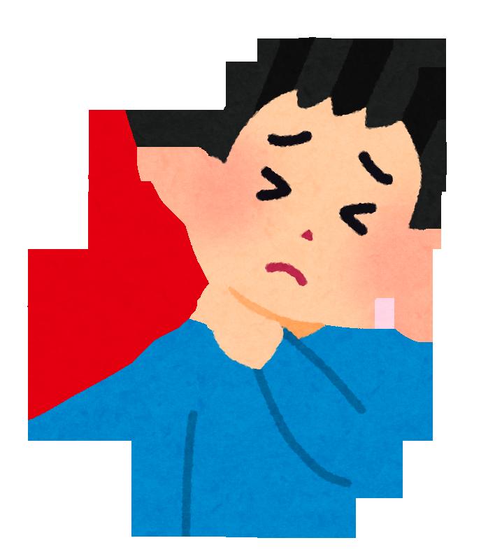 首のこりや首の痛みに苦しんでいる人のイラストです。
