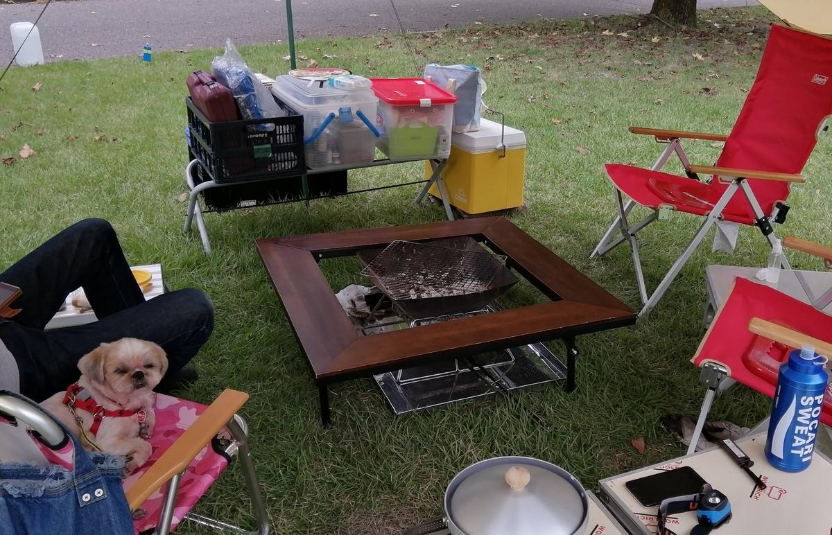 出会いの森オートキャンプ場 フリーサイト ロゴス 囲炉裏テーブル