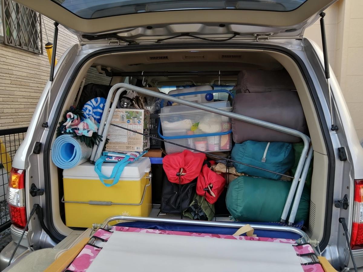 キャンプ 荷物 車載