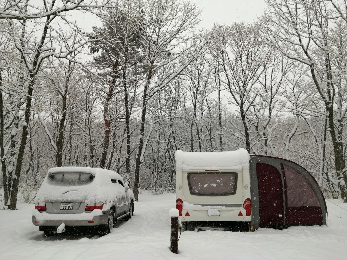 エンゼルフォレスト那須白河 キャンピングトレーラー 雪中キャンプ シーズー キャンピングカーサイト
