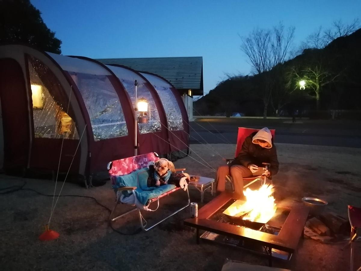 出会いの森総合公園オートキャンプ場 キャンピングトレーラー キャンプ シーズー ポーチオーニング