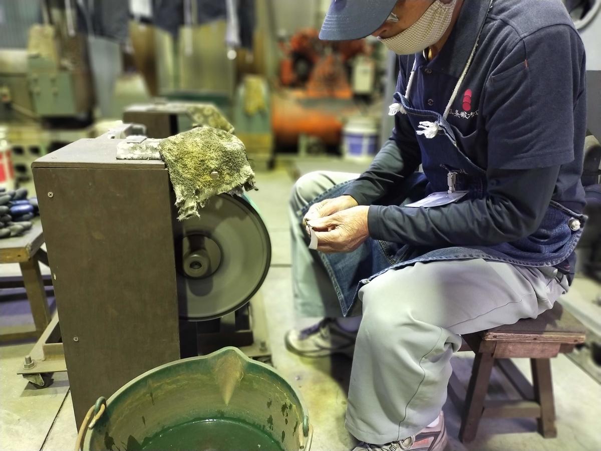 三条市 三条鍛冶道場 ものづくり体験 ペーパーナイフ 五寸釘 研磨