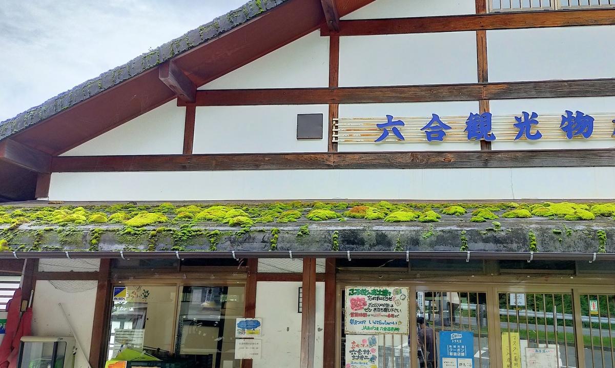 道の駅六合 屋根 苔