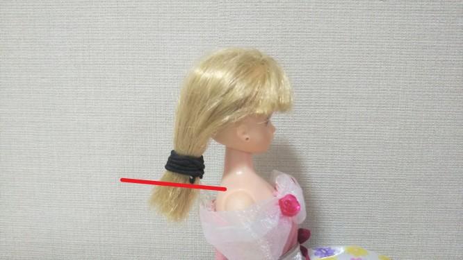 後ろ髪をゴムで束ねて、ゴムの下にカットラインを示した様子