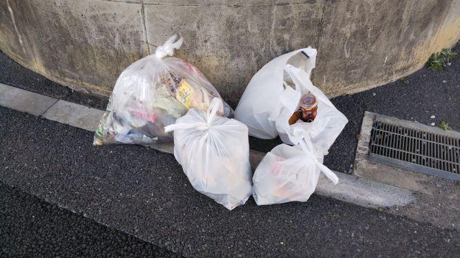 拾ったゴミの様子。燃やすゴミ3袋と要分別のゴミ2袋。