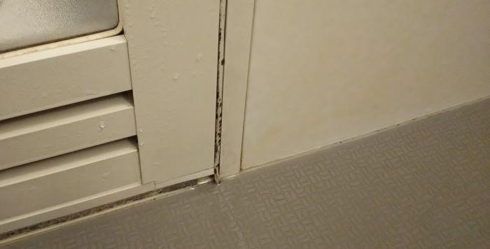 漂白後のドアパッキンの様子。少し黒カビが薄くなっているような。