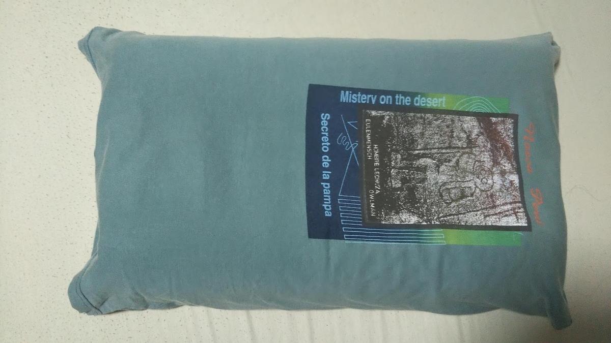 夫向けの枕カバーの様子。袋状になっており、閉じていません。