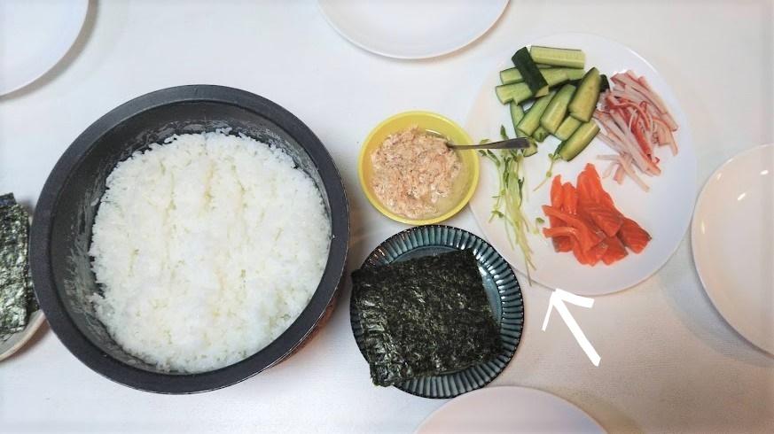 手巻き寿司の様子