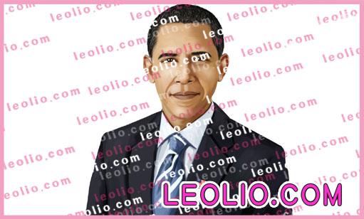 オバマ大統領 の 似顔絵イラスト。