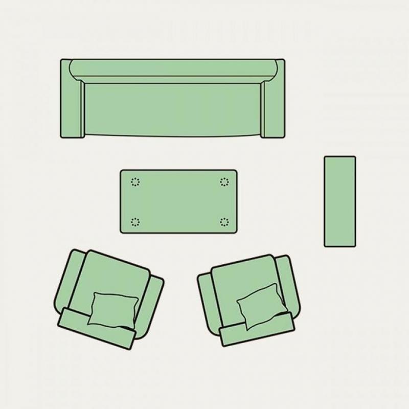 8美しいリビングルームの内部空間のレイアウト