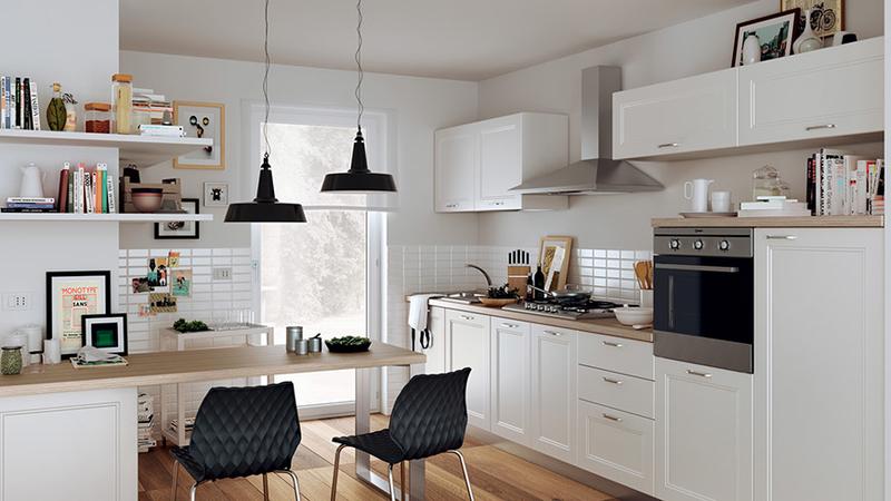 スマートインテリアデザイン:リビングルームとキッチン、ダイニングテーブルはスペースを節約するための机