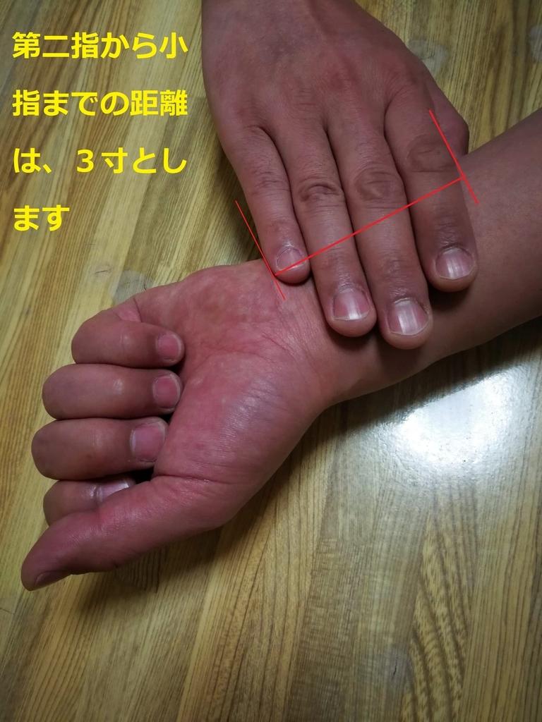 手首の内側から上3寸の距離が「腸関」