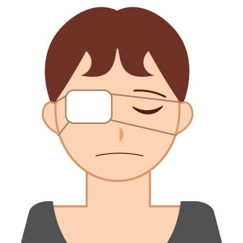 顔の歪みで眼球が破裂して失明