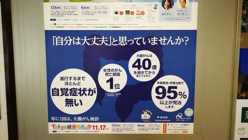駅ナカのポスター(大腸がん検診をすすめている)