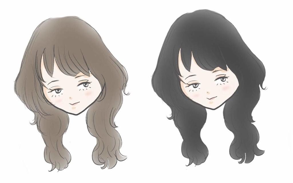 茶髪と黒髪の女の子の画像