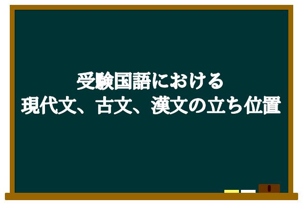 受験国語における現代文、古文、漢文の立ち位置