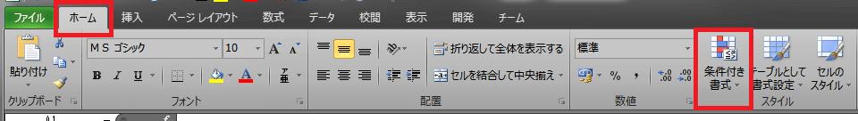 条件付き書式 ボタンの位置