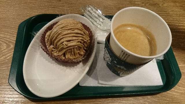 プロントのモンブランとホットコーヒー